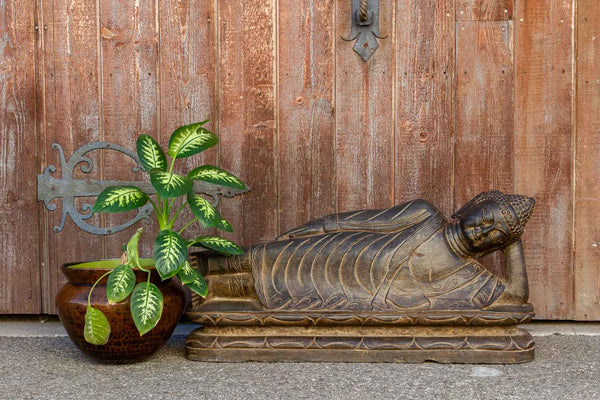 Black Stone Asian Reclining Carved Buddha
