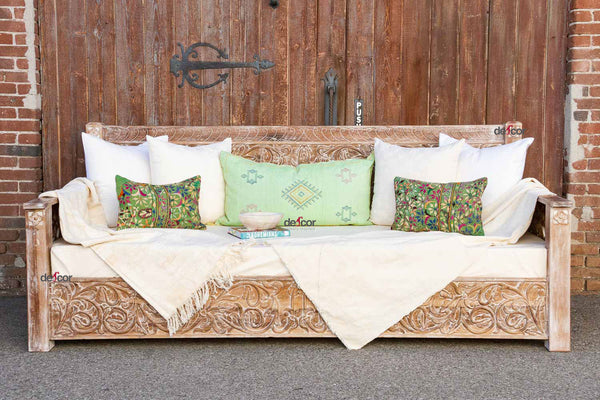 Whitewash Indian Floral Carved Daybed