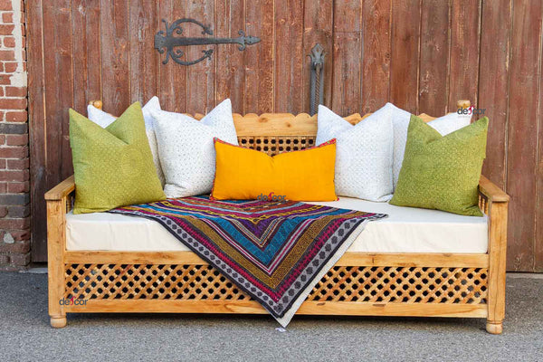 Moroccan Mousharabi Bleach Wood Daybed Sofa