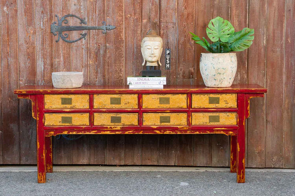 Vintage Lacquered Burmese Eight Drawer Console