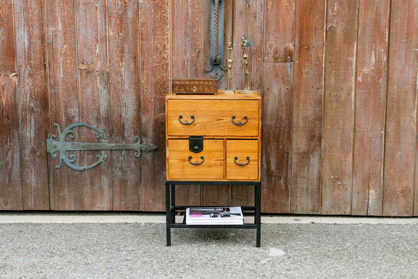 Antique Japanese Tansu on Iron Stand