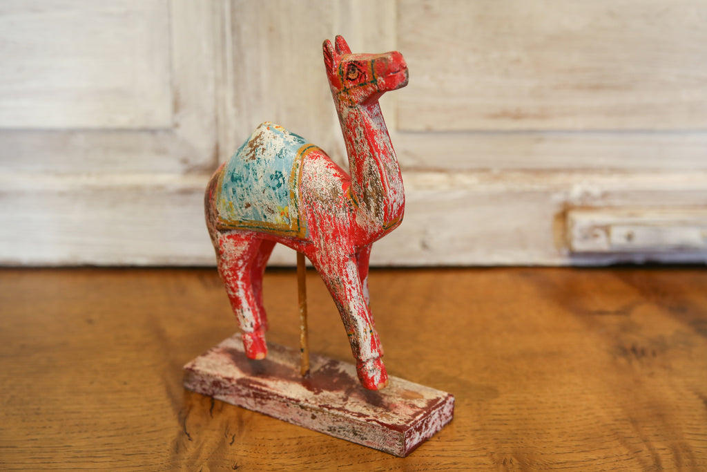 Antique Red Decorative Painted Wood Camel