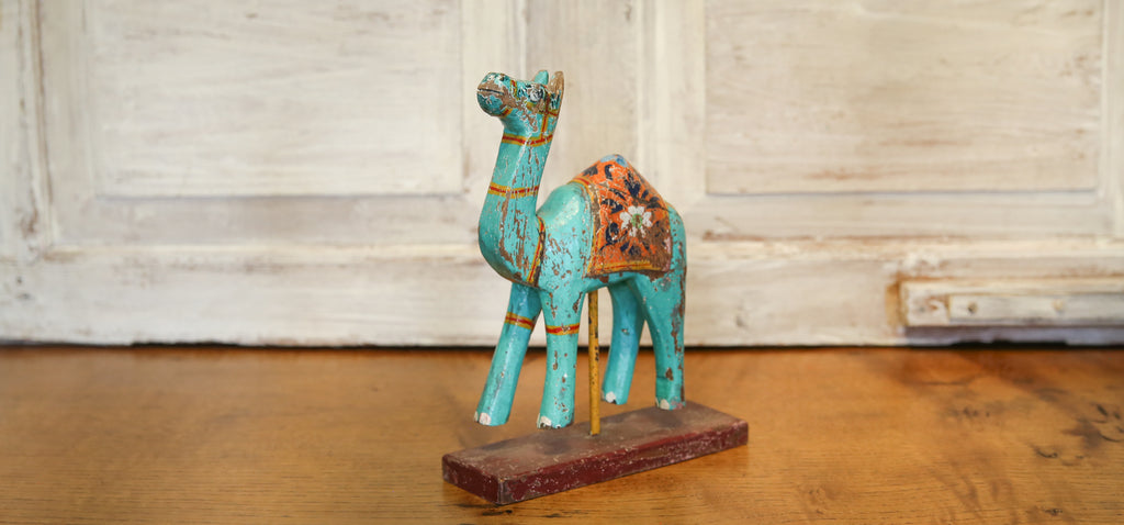Turquoise Decorative Painted Wood Camel