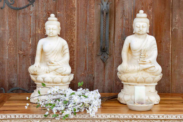 Tall Vintage Beautifully Carved Marble Buddha