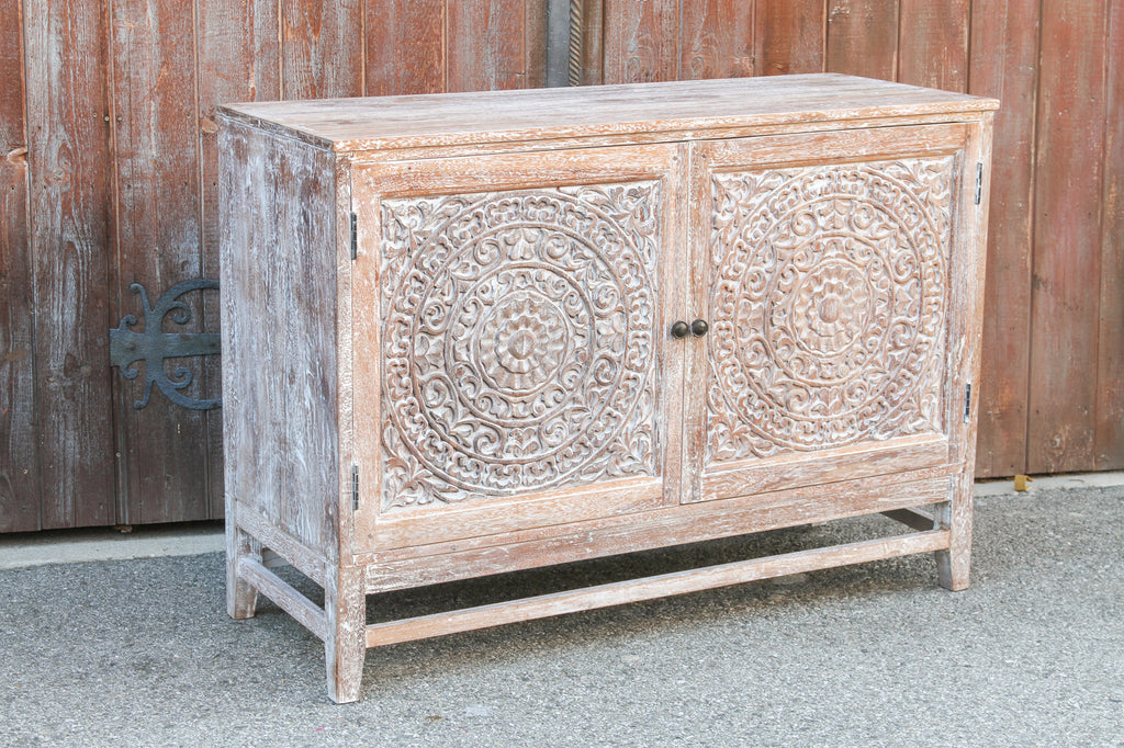 Whitewashed Reclaimed Lotus Carved Cabinet