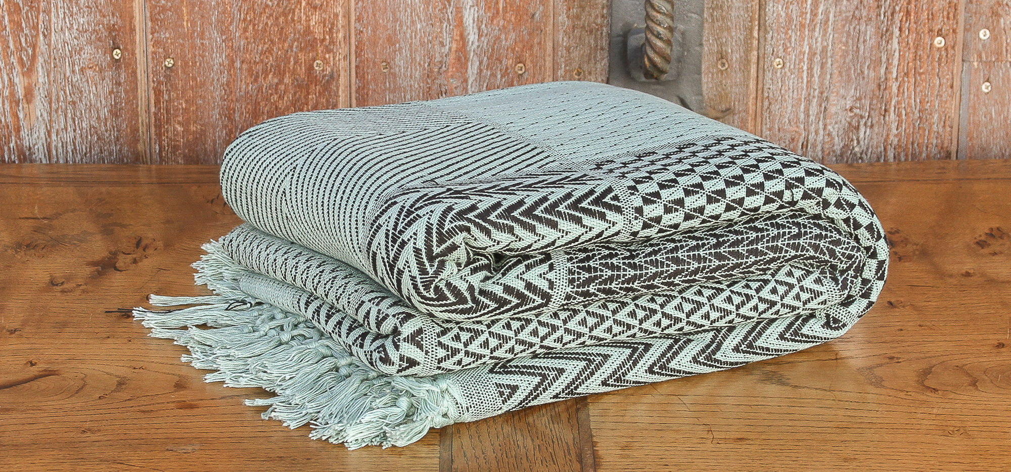 Mint & Black Hand-loom Jacquard Bed Cover