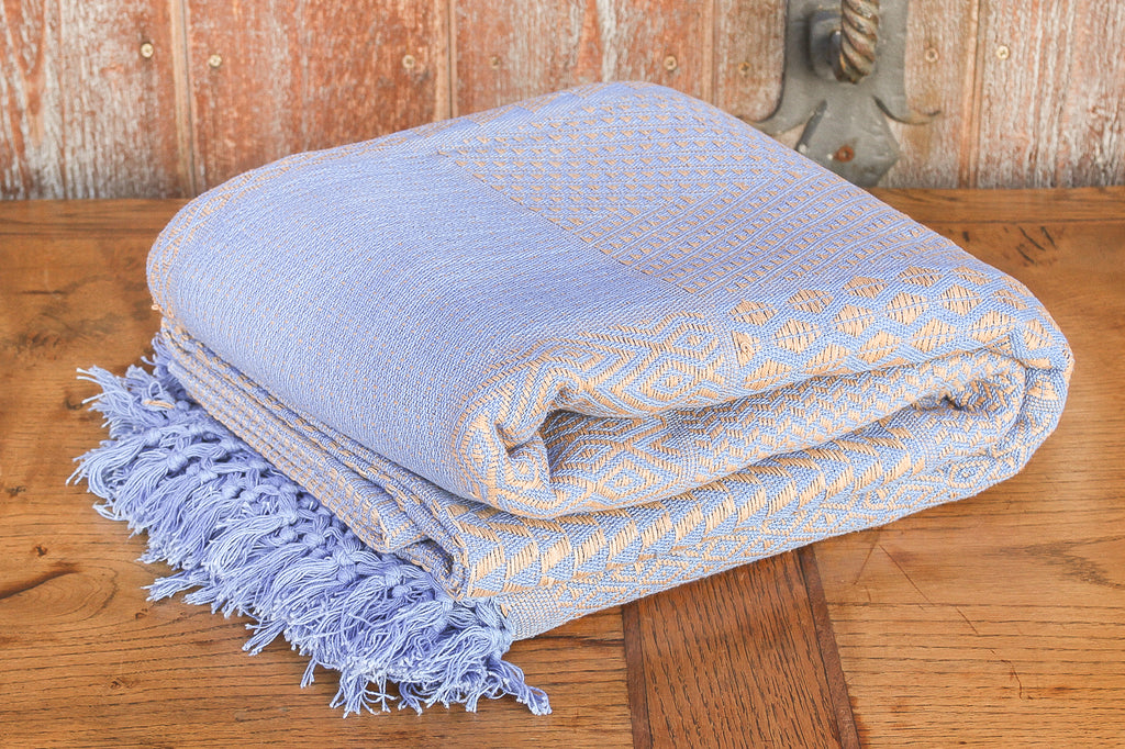 Wheat & Blue Hand-loom Jacquard Bed Cover