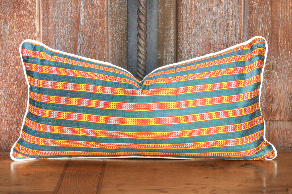 Teal and Orange Vintage Thai Silk