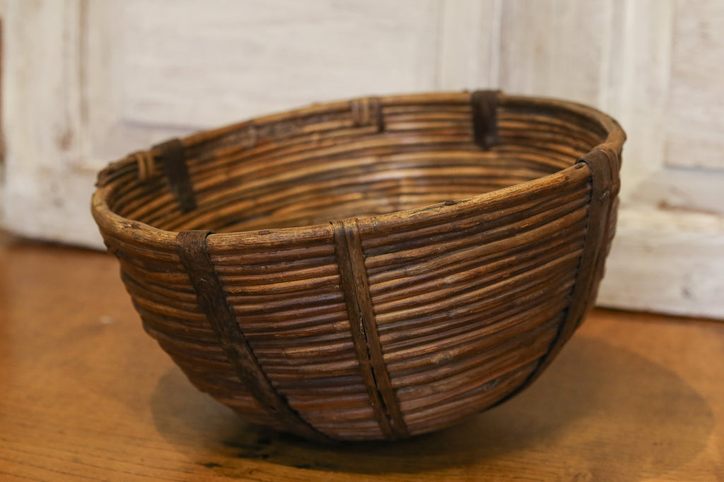 Metal Strapped Farmhouse Rounded Basket