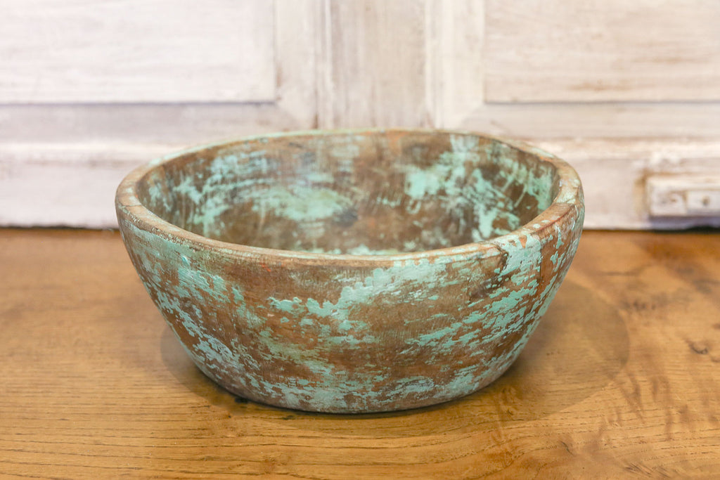 Antique Teal Dough Bowl