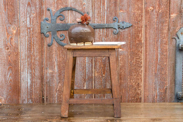 Indian Colonial Rustic Teak Stool