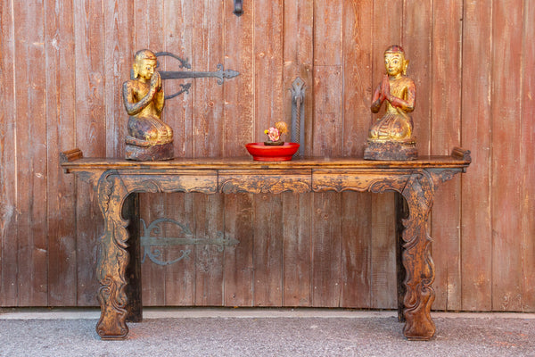 Exemplary Early 19th Century Scroll Altar Table