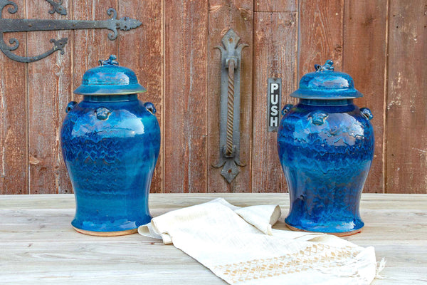 Pair of Royal Blue Asian Porcelain Vases
