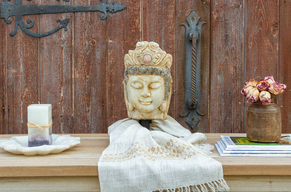 Lovely Antique Burmese Marble Buddha on Stand