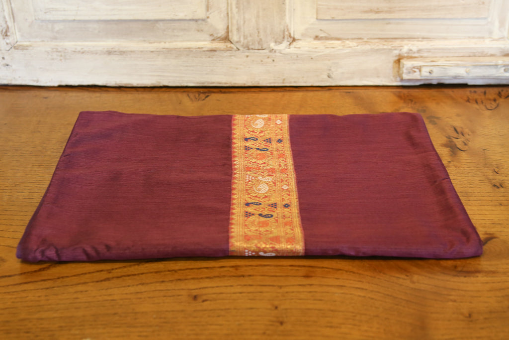Graceful Gold & Plum Beaded Heritage Silk Runner