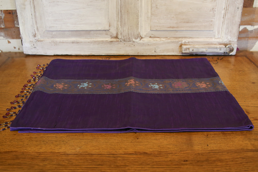 Stunning Floral Striped Purple Beaded Heritage Silk Runner
