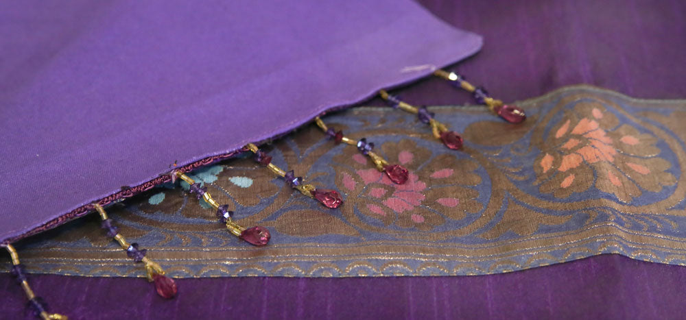 Golden Floral Striped Purple Beaded Heritage Silk Runner