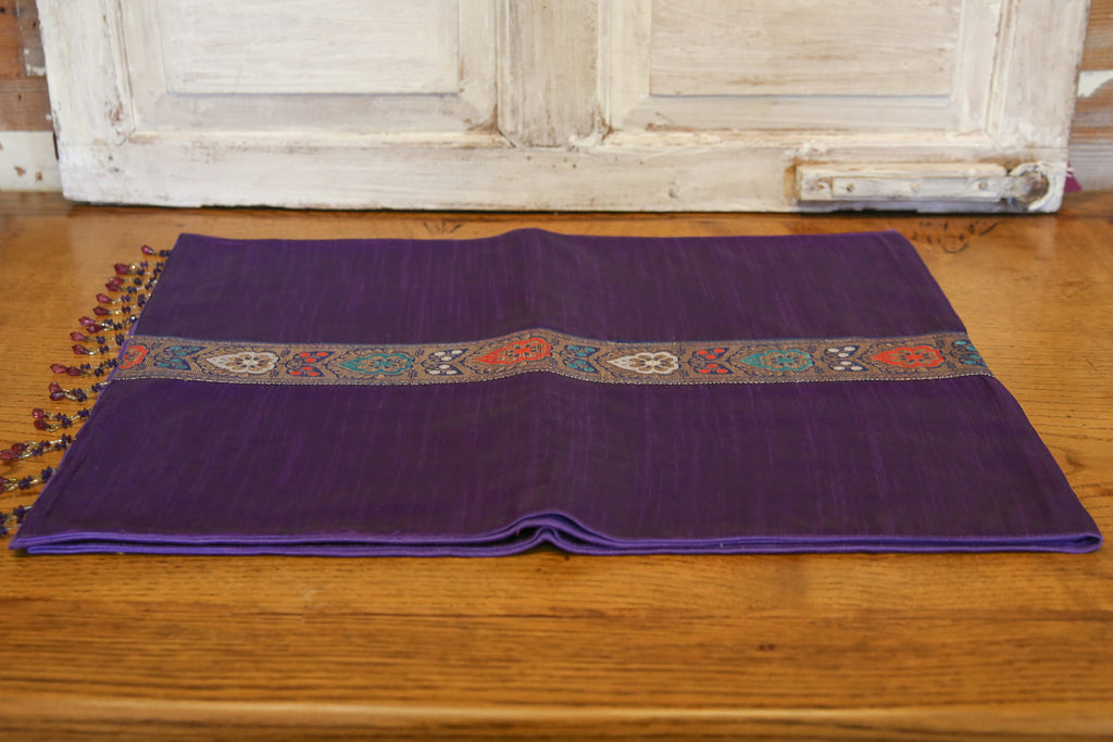 Floral Striped Purple Beaded Heritage Silk Runner
