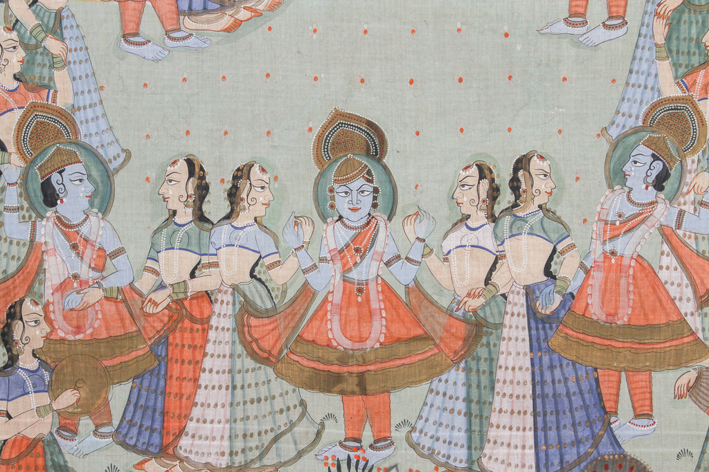 Early 19th Century Krishna and Gopi Pichhavai Painting