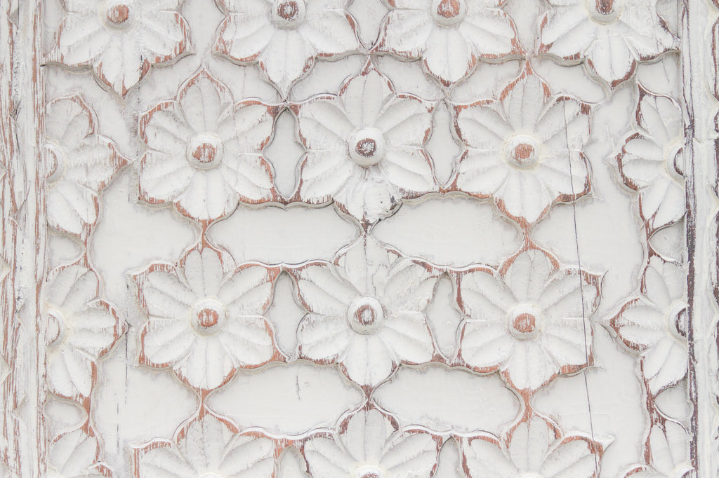 Aged White Floralita Carved Panel
