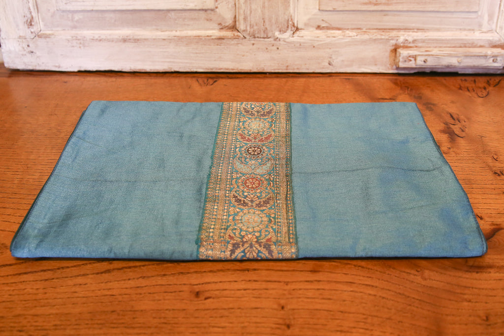 Floral Striped Blue Beaded Heritage Silk Runner