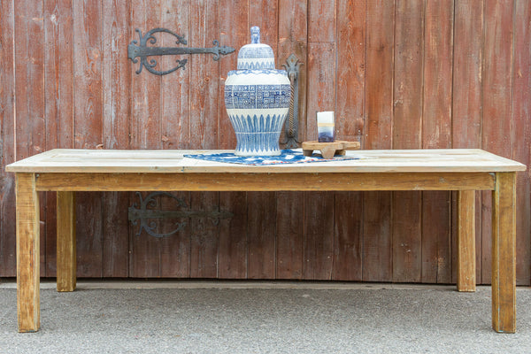 Bleached Old Wood Rustic Parson Dining Table