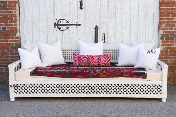 White Moroccan Carved Large Daybed