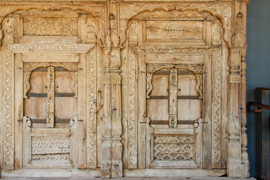 Architectural Whitewashed Floral Carved Ceiling Panel