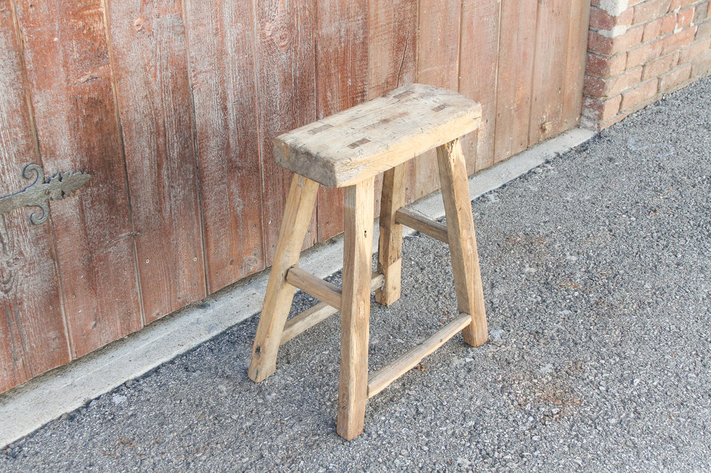 Bleached Wood Farmhouse Stool