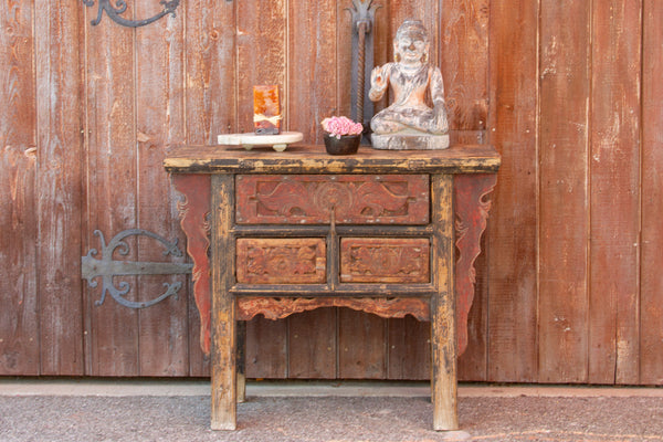 Graceful Carved Drawer Console