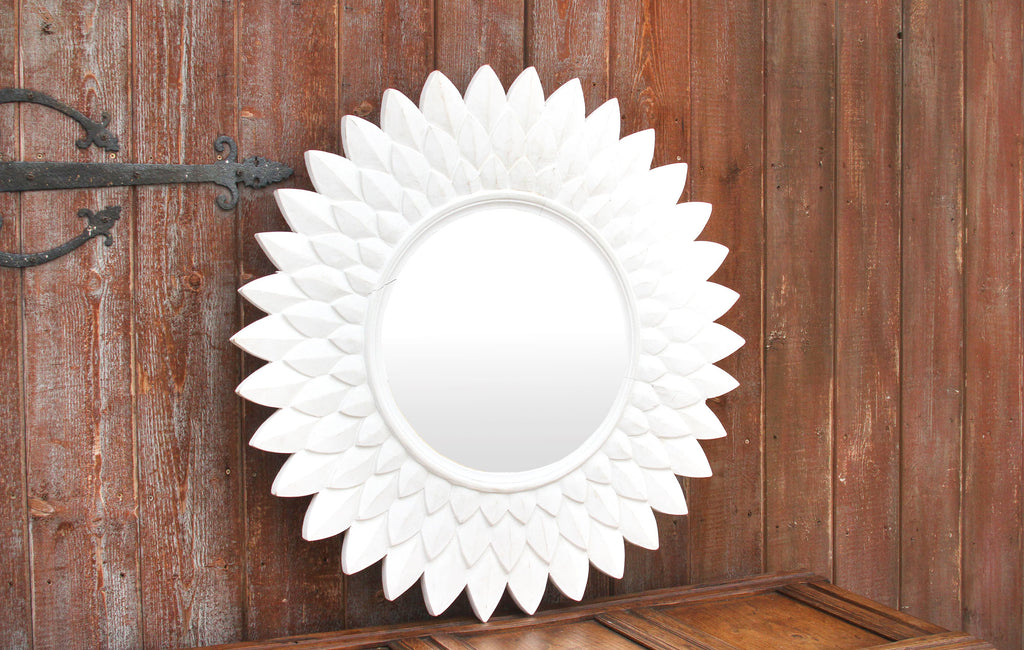 Round Carved Lotus Mirror