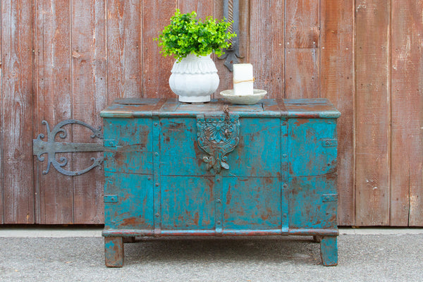 Antique Turquoise Marriage Trunk