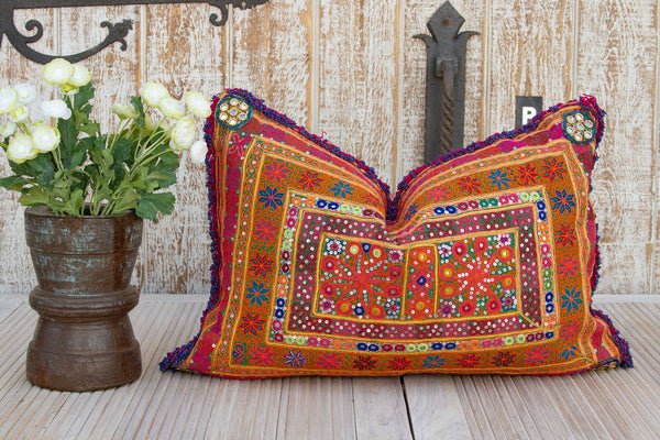 Zara Thar Silk Embroidered Antique Pillow