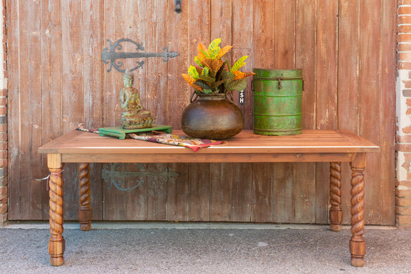 Reclaimed Teak Barley Twist Dining Table