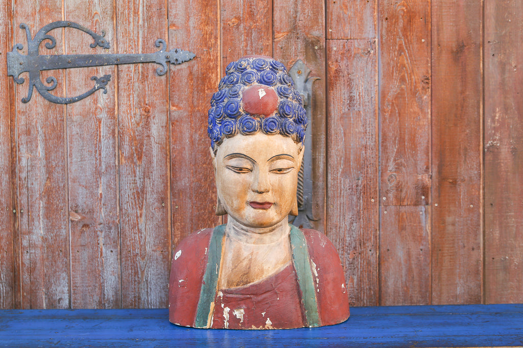 Antique Painted Wooden Buddha Bust