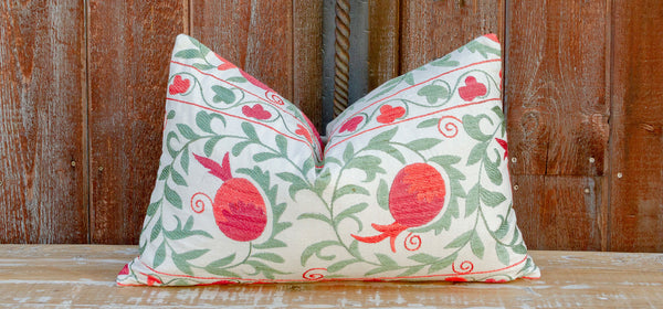 Pomegranate & Green Ivy Lumbar Suzani Pillow