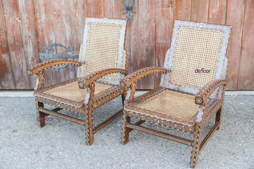 Mid Century Bone Inlay Cane Chairs, Pair