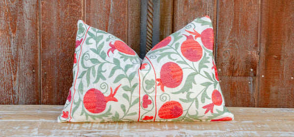 Pahi Pomegranate & Green Ivy Lumbar Suzani Pillow