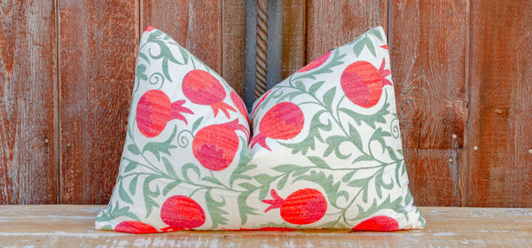 Ria Pomegranate & Green Ivy Lumbar Suzani Pillow