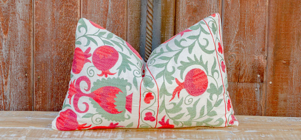 Nala Pomegranate & Green Ivy Lumbar Suzani Pillow