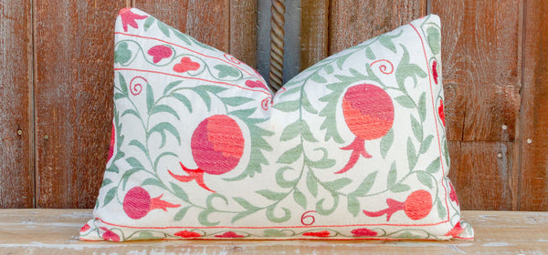 Ani Pomegranate & Green Ivy Lumbar Suzani Pillow
