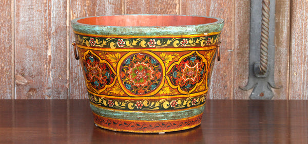Charming Hand Painted Wooden Grain Bucket