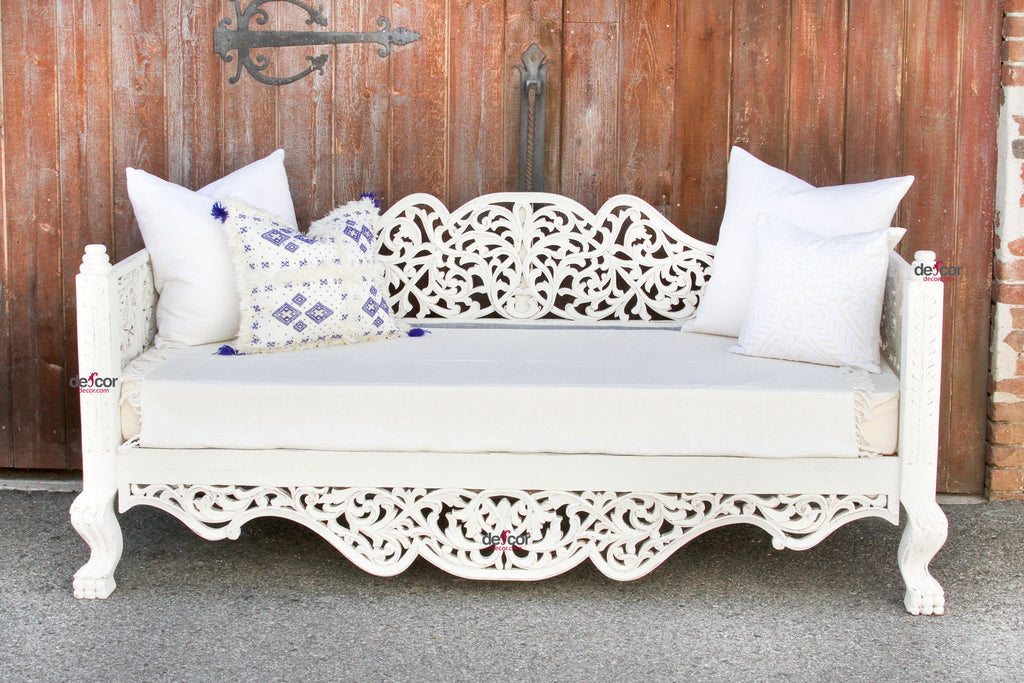 Blanca Raj Anglo Indian Carved Daybed