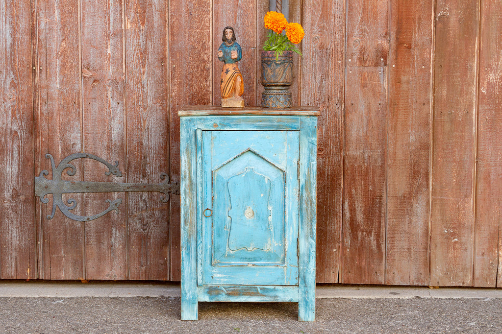 Indo-French Turquoise Night Stand
