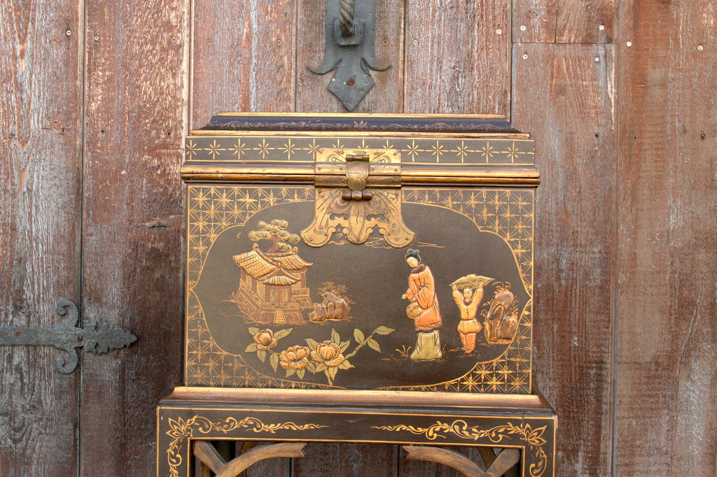 Charming Chinoiserie Painted Box on a Stand