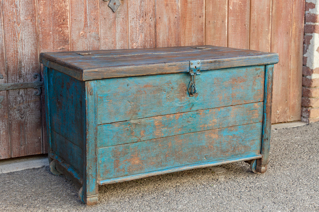 Primitive Turquoise Trunk on Wheels