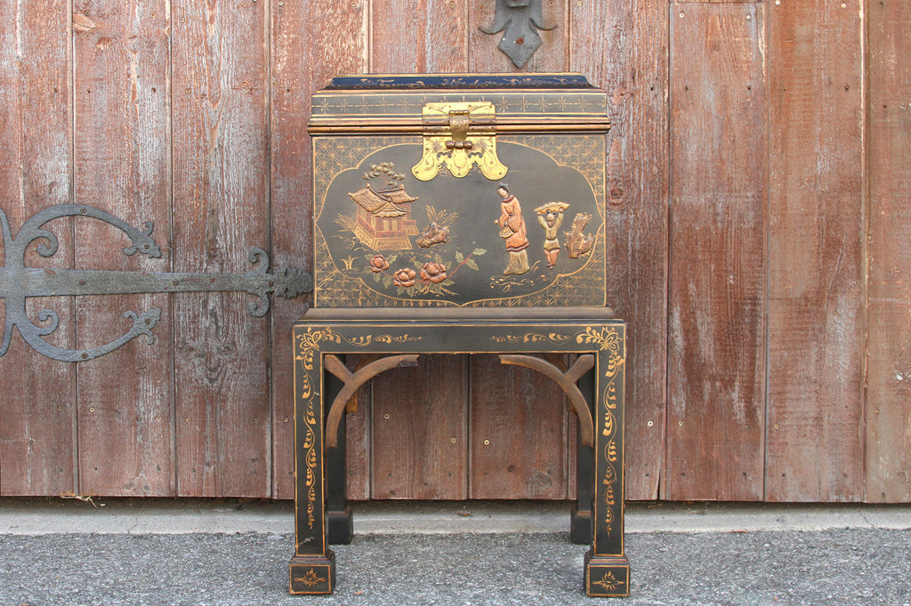 Vintage Chinoiserie Painted Box on a Stand