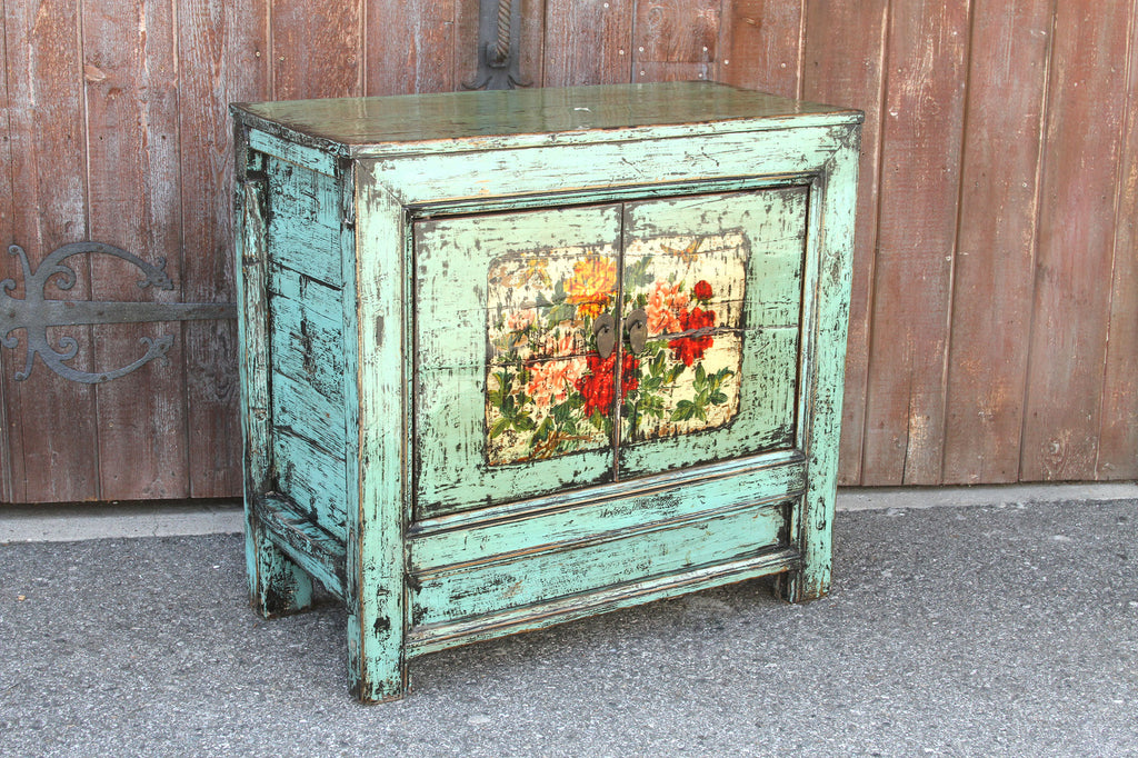 Charming Lacquered Aqua Tansu Floral Cabinet