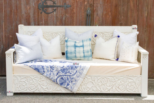Stunning White Floral Carved Daybed