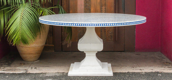 Elegant Najima Bone Inlay Pedestal Round Table